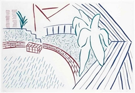 Artwork by David Hockney, My Pool and Terrace, from Eight by Eight to Celebrate the Temporary Contemporary, Made of etching in colors