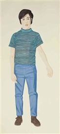 Artwork by Alex Katz, The Striped Shirt, Made of aquatint in colors on Arches paper