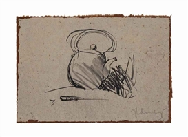 Artwork by Claes Oldenburg, Teapot, Made of lithograph on handmade Balinese paper adhered at the top sheet edge to Japanese Moriki paper