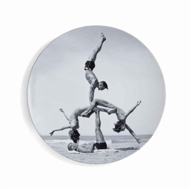 Artwork by Jeff Koons, Untitled, from Popeye Series, Made of white porcelain plate multiple with printed image in black and white