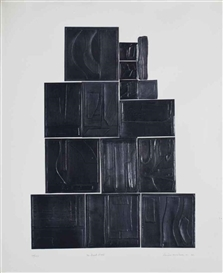 Artwork by Louise Nevelson, Great Wall, from Lead Intaglio Series, Made of lead intaglio collage on Fabriano paper