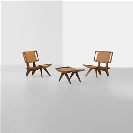 Artwork by Paul László, Pair of lounge chairs and ottoman, Made of walnut, cane