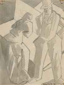 Artwork by David Bomberg, Figure group, Made of ink and wash
