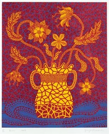 Artwork by Yayoi Kusama, Flowers (3), Made of Screenprint with lame