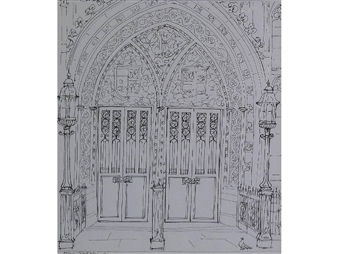 4 works; The Fish Market; The Old Dissenters' Chapel in Cross Street; St. James Street, Once a Thriving Textile Trade; Entrance Doors of the John Rylands Library By Albin Trowski ,1976
