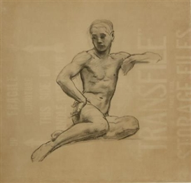 Artwork by John Singer Sargent, Study of a Male Nude, Made of collotype