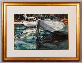 Artwork by John Whorf, Reflections At The Dock, Made of watercolor