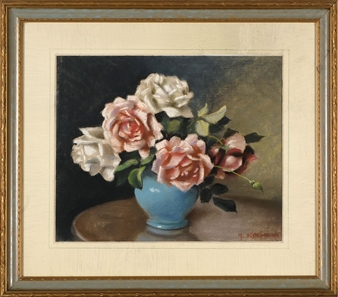 Roses in a blue vase By Mae Bennett Brown