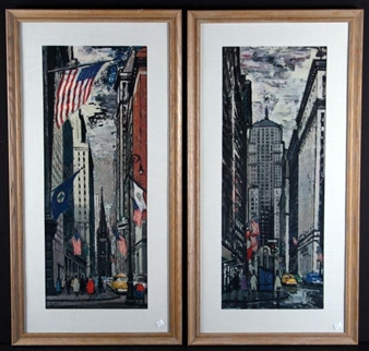 Two Color Reproduction Prints Depicting New York City By Federico Lloveras Herrera ,20th Century