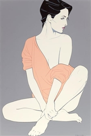 Artwork by Patrick Nagel, Her Casual Pose, Made of Acrylic on canvas