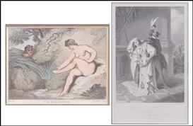 Artwork by Thomas Rowlandson, 2 WORKS: THE FAIR BATHER; SCENE FROM THE SHAKESPEARE'S HENRY VI, Made of Colored etching