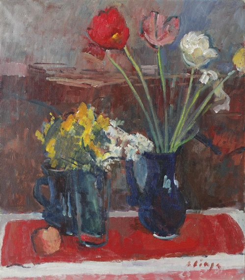 Ciupe Aurel Still Life With Vases And Flowers Mutualart