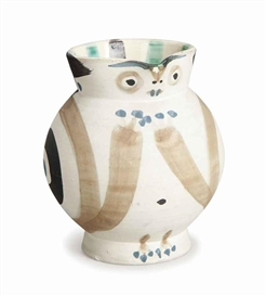 Artwork by Pablo Picasso, Little Wood-Owl, Made of Partially glazed white earthenware pitcher painted in beige, green, and black