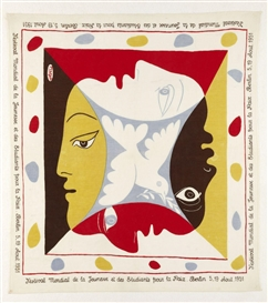 Artwork by Pablo Picasso, Festival Mondial De La Jeunesse Et De Etudiants Pour La Paix, Berlin, Made of Screenprint in colours on cotton scarf