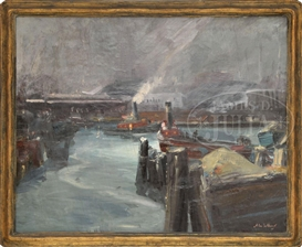 Artwork by John Whorf, CITY TUGS, Made of Oil on canvas