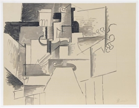 Pablo Picasso, Cubist Composition with Guitar