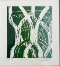 Artwork by Fiona Omeenyo, River Lloyd Bay, Made of Linocut