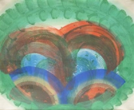 Artwork by Howard Hodgkin, 'Red Palm', Made of Lithograph with hand colouring