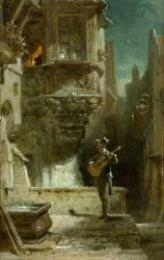 Artwork by Carl Spitzweg, Das Ständchen, Made of oil on panel