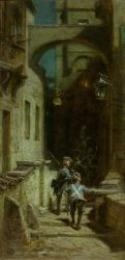 Artwork by Carl Spitzweg, Die Scharwache, Made of oil on board