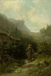 Artwork by Carl Spitzweg, Mendicant monk in a straw hat on a path before his hermitage, Made of oil on panel