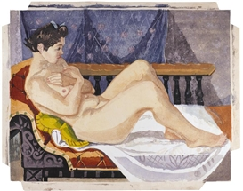 Artwork by Jun'ichirô Sekino, Nude reclining on a chaise lounge in front of a patterned curtain, Made of Self-printed monoprint, color and mica-infused pigments on paper