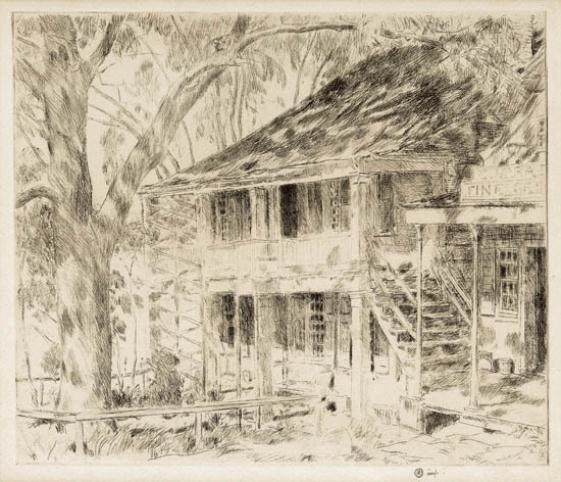 Artwork by Childe Hassam, The Old House Cos Cob, Made of Etching