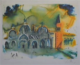 Artwork by Salvador Dalí, Homage to Venice, Made of Photolithograph