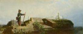 Artwork by Carl Spitzweg, Auf der Bastei, Made of Oil on canvas