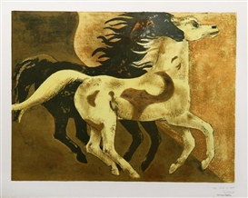 Artwork by Millard Sheets, Two Horses, Made of Lithograph