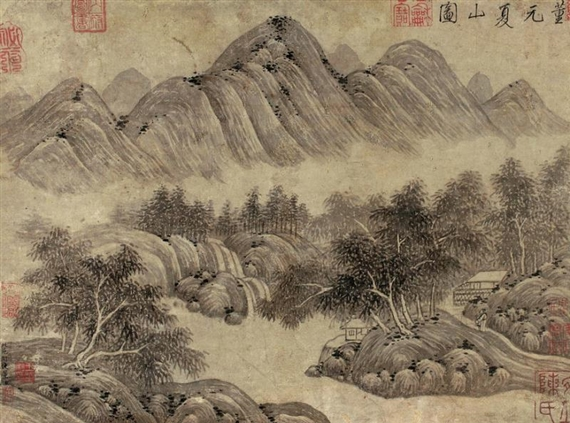 Dong Yuan - SUMMER MOUNTAINS, ink and light color...