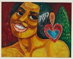 Artwork by Henry Heerup, Sangerinden Marian Anderson (The Singer Marian Anderson), Made of oil on board
