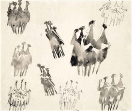 Artwork by Kenneth Armitage, Group figure studies, Made of ink and wash