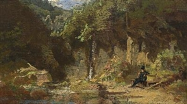 Artwork by Carl Spitzweg, Widower, Resting By A Waterfall, Made of Oil on panel