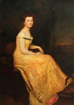 A portrait of a lady, full-length, seated, wearing an evening gown By Gustave Claude Etienne Courtois ,1900