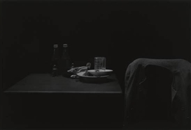 Artwork by Roy DeCarava, Ketchup bottles, table and coat, Made of Silver print