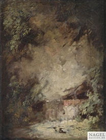 Artwork by Carl Spitzweg, Rockface in a Canyon, Made of Oil on paper on canvas