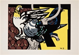 Artwork by Millard Sheets, 2 Works: Three Gay Birds & Birds of a Feather, Made of Color screenprint