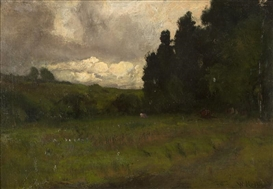 Artwork by William Keith, Landscape with stormy sky, Made of oil on canvas laid to artist's board