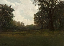 Artwork by William Keith, Tonalist landscape, Made of oil on canvas laid to artist's board