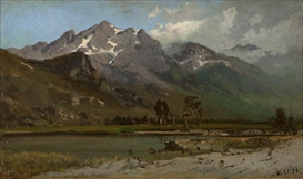 Artwork by William Keith, Mountain with SnowRift, Made of oil on canvas laid to board
