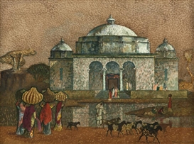 Artwork by Millard Sheets, Twelfth Century Mosque, India, Made of watercolor on paper under glass