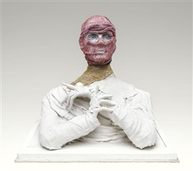 Artwork by Paul Van Hoeydonck, Bio torso, Made of Plaster, fabric and polyester