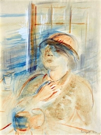 Artwork by Jozsef Egry, In the Window, Made of Aquarelle, pencil, coverwhite on paper