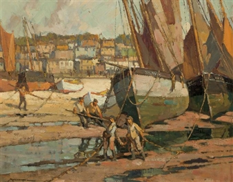 Low Tide St. Ives Harbor, Cornwall, England By Frederick J. Mulhaupt