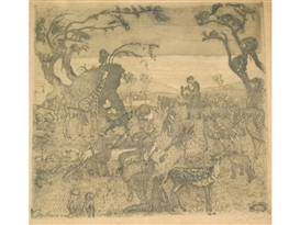 Artwork by Oskar Laske, Orpheus Und Die Tiere, Made of Etching with aquatint