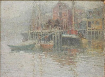 Harbor Scene By Frederick J. Mulhaupt
