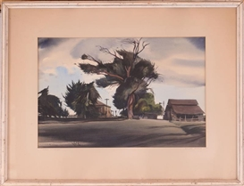 Artwork by Millard Sheets, STORM SHADOWS, Made of Watercolor on paper