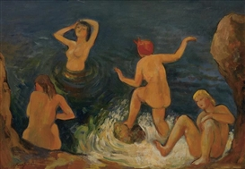 Artwork by Bernard Karfiol, The Bathers, Made of Oil on canvas