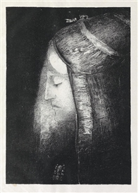 Artwork by Odilon Redon, Profil de Lumière, Made of Lithograph on Chine volant